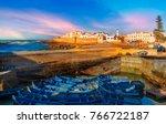 fishing port and essaouira town ... | Shutterstock . vector #766722187