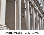Public Library Palace, white columns perspective, old square, Bergamo, Lombardy, Italy - stock photo