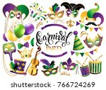mardi gras french traditional... | Shutterstock . vector #766724269