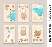 cute owl  hand drawn design... | Shutterstock .eps vector #766726261