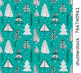 winter seamless background with ... | Shutterstock .eps vector #766740961