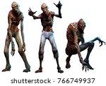zombies or ghouls 3d... | Shutterstock . vector #766749937