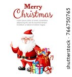 christmas santa claus with... | Shutterstock .eps vector #766750765