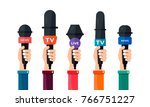 the hand holds a microphone  5... | Shutterstock .eps vector #766751227