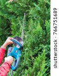 man cuts conifers with an... | Shutterstock . vector #766751689