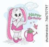 cute bunny in the garden.... | Shutterstock . vector #766757797