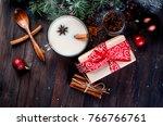 christmas drink  tea with milk... | Shutterstock . vector #766766761
