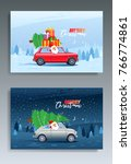 merry christmas winter... | Shutterstock .eps vector #766774861