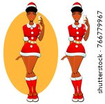 christmas sexy black girl santa ... | Shutterstock .eps vector #766779967