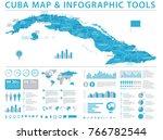 cuba map   detailed info... | Shutterstock .eps vector #766782544