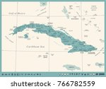 cuba map  vintage high detailed ... | Shutterstock .eps vector #766782559