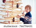 cute boy  kid decorate... | Shutterstock . vector #766796431