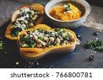 stuffed butternut squash with... | Shutterstock . vector #766800781