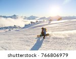 a snowboarder in a ski mask and ... | Shutterstock . vector #766806979