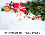 christmas  background with red... | Shutterstock . vector #766819651