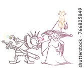 cute cartoon with witch and... | Shutterstock . vector #766825849