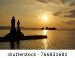 sunset of lake shinji in matsu  ...   Shutterstock . vector #766831681