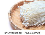 enokitake is a long  thin white ... | Shutterstock . vector #766832905