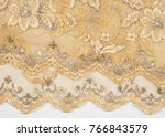 Texture. Lace Fabric Golden...