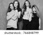 portrait of four females having ... | Shutterstock . vector #766848799