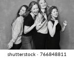 black and white four females... | Shutterstock . vector #766848811