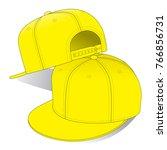 yellow hip hop hat   snap back  ...   Shutterstock .eps vector #766856731