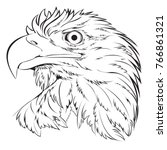 Bald Eagle Head Hand Draw Blac...