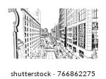 sketch illustration of portland ... | Shutterstock .eps vector #766862275