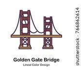 a suspension bridge spanning... | Shutterstock .eps vector #766862614