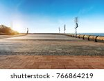 empty floor and beachfront park | Shutterstock . vector #766864219