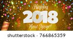 happy new year 2018 greeting... | Shutterstock . vector #766865359