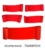 red tape   curved 3d isolated... | Shutterstock .eps vector #766880524