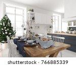 3d rendering. nordic kitchen... | Shutterstock . vector #766885339