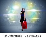 a beautiful young girl standing ... | Shutterstock . vector #766901581