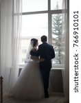 beautiful young bride and groom ... | Shutterstock . vector #766910101