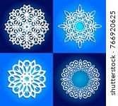 set of vector snowflakes for... | Shutterstock .eps vector #766920625