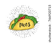 mexican taco isolated with... | Shutterstock .eps vector #766920715