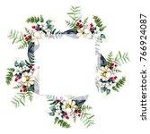 bouquet flower wreath in a... | Shutterstock . vector #766924087