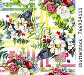 bouquet flower pattern in a... | Shutterstock . vector #766924111