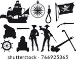 set of silhouettes on a pirate... | Shutterstock .eps vector #766925365
