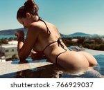 sexy model wearing in bikini in ... | Shutterstock . vector #766929037