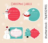 christmas labels and decoration | Shutterstock .eps vector #766932901