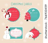 christmas labels and decoration | Shutterstock .eps vector #766933459
