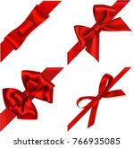 vector set of red bow with... | Shutterstock .eps vector #766935085