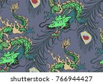 pattern of asian dragon and... | Shutterstock .eps vector #766944427