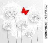paper flower. white roses are... | Shutterstock .eps vector #766946767
