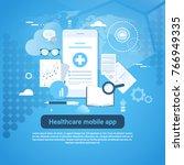 healthcare mobile app template...   Shutterstock .eps vector #766949335