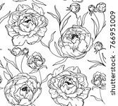 peony flower seamless pattern....   Shutterstock .eps vector #766951009