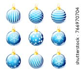set of blue christmas balls... | Shutterstock .eps vector #766970704
