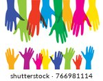 helping human adult hands and... | Shutterstock .eps vector #766981114